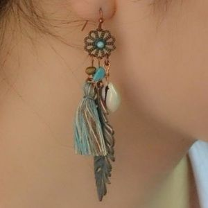 Jewelry - Turquoise Bohemian Tassel, Leaf and Shell Earrings